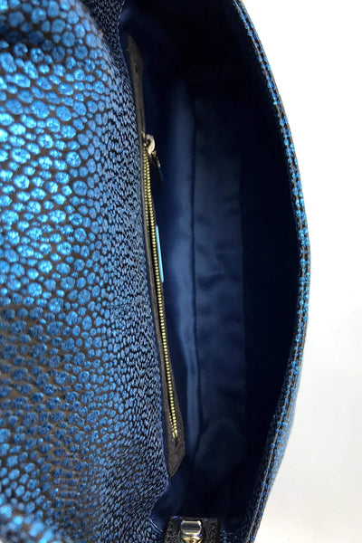 Blue Glitter/Black Pattern Fabric Baguette w/ Leather Clasp