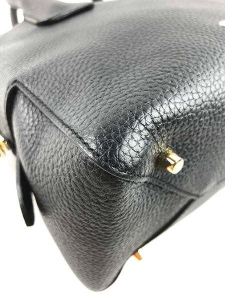 Black Pebbled Leather Small Greenwood Bowling Bag
