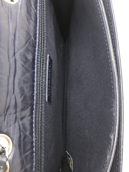 Marine Crinkled Calfskin Chocolate Bar Whipstitch Mademoiselle Flap Bag W/ SHW