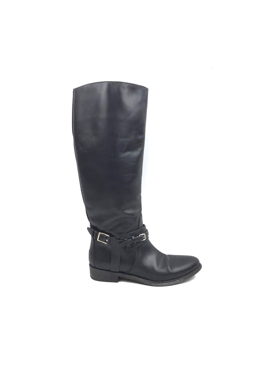 Black Leather Riding Boots - Haute Classics