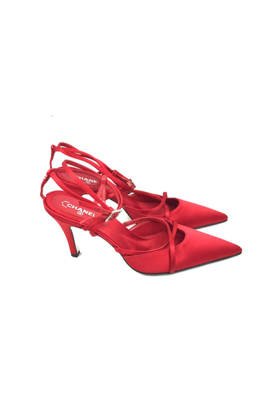 Red Satin Pointed-Toe Low Heels
