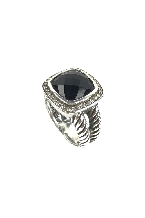 Sterling Silver Black Onyx Diamonds Albion 11 mm Ring