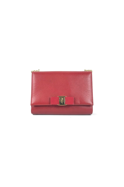 Lipstick Red Cross-Grained Leather Vera Crossbody Bag