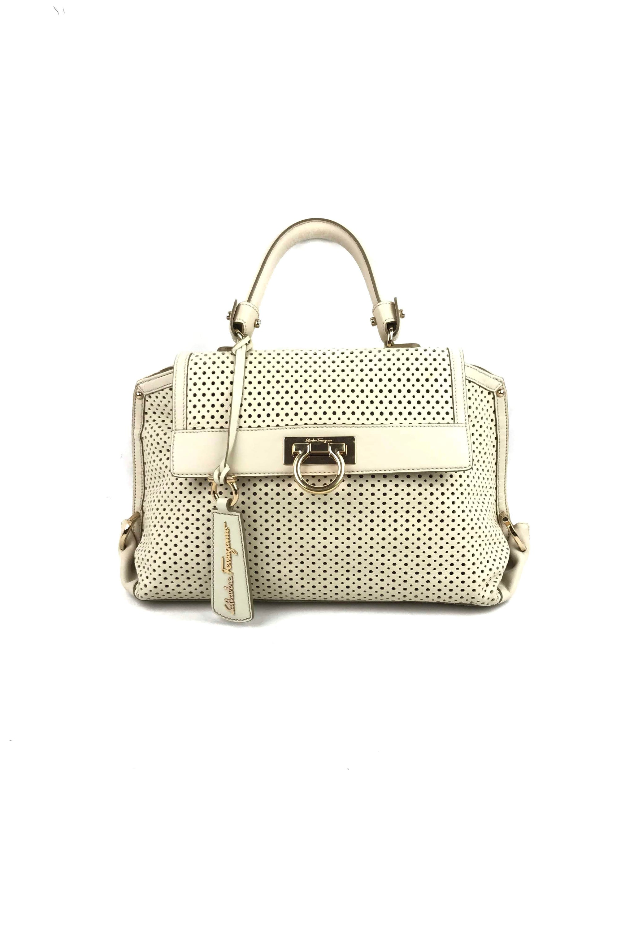 864243ece8 White Limited Edition Perforated Leather Sofia Bag – Haute Classics