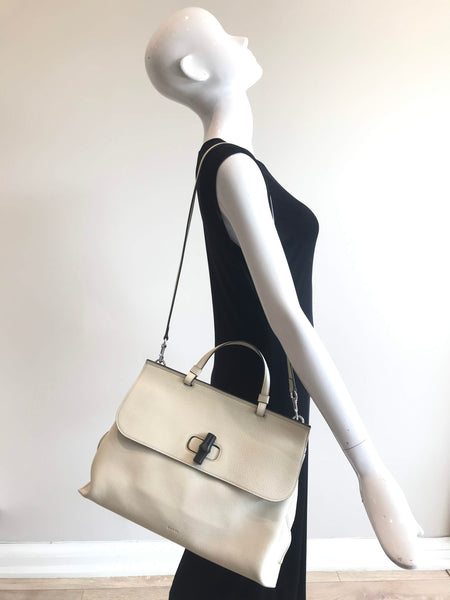 Mystic White Grained Leather Borsa Bamboo Daily Cellarius Large Top Handle Bag