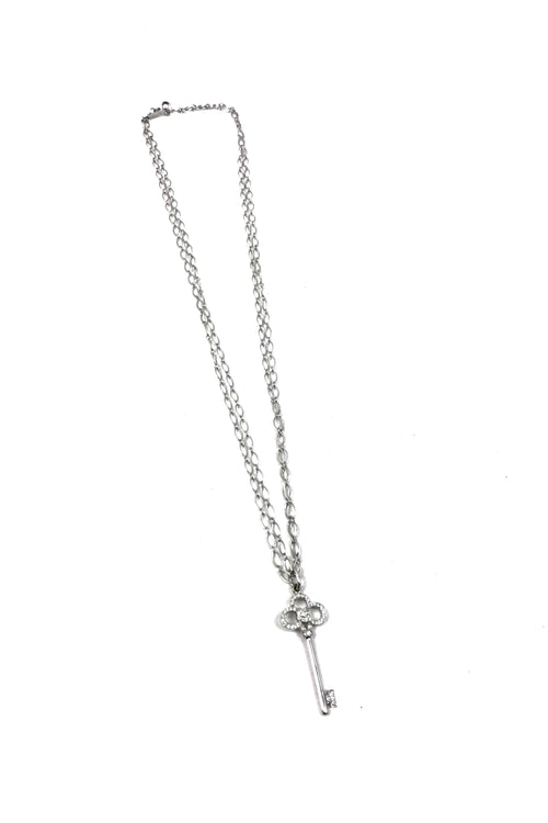 "18K White Gold Crown Key Diamond Pendant On 36"" Chain"