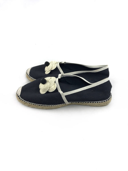 CC Black/White Camelia Flower Fabric Espadrille