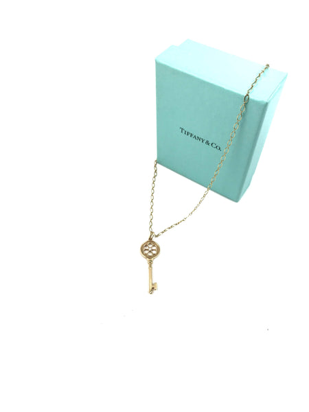"18K Yellow Gold Bloom Key Pendant On 18"" Chain W/ Diamond"
