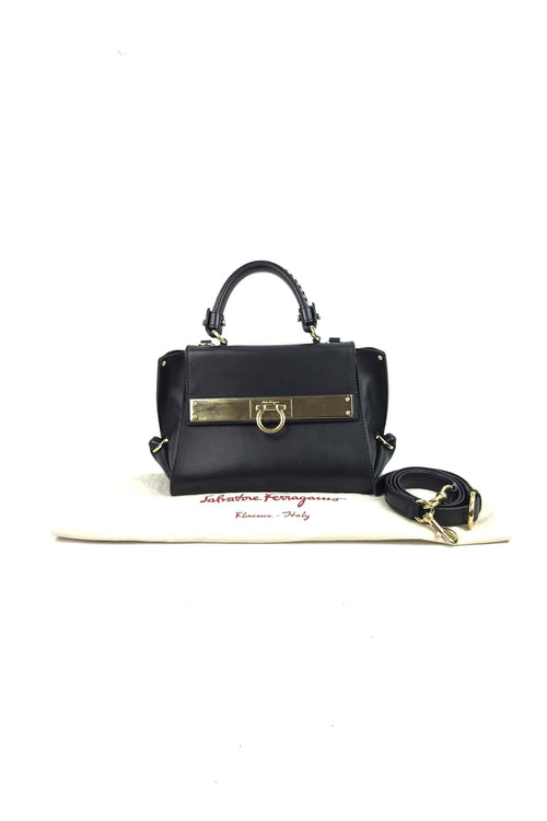 Black Smooth Leather Mini Sofia Bag W/ GHW