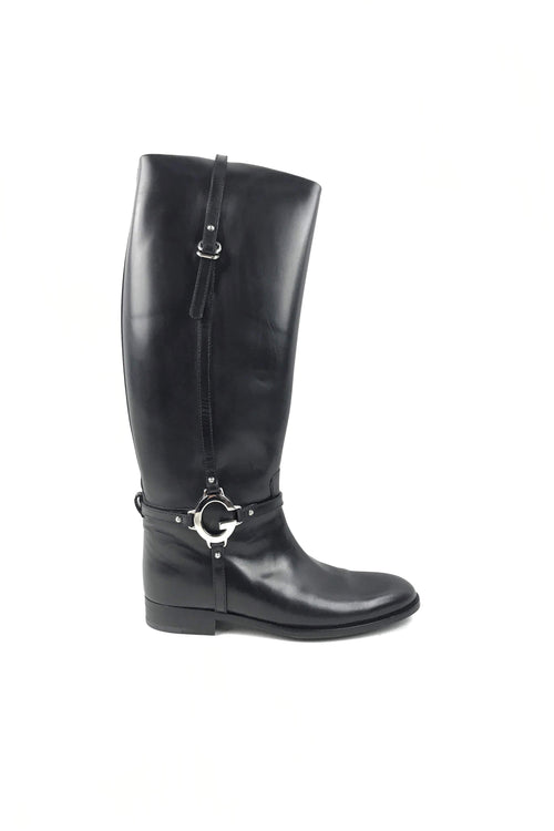 Black Smooth Leather Buckle Knee High Boots