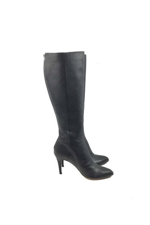 Black Smooth Leather Calf High Heeled Boots
