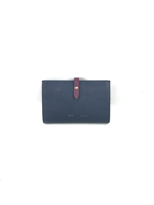 Steel Blue Grained Leather Large Multifunction Wallet W/GHW