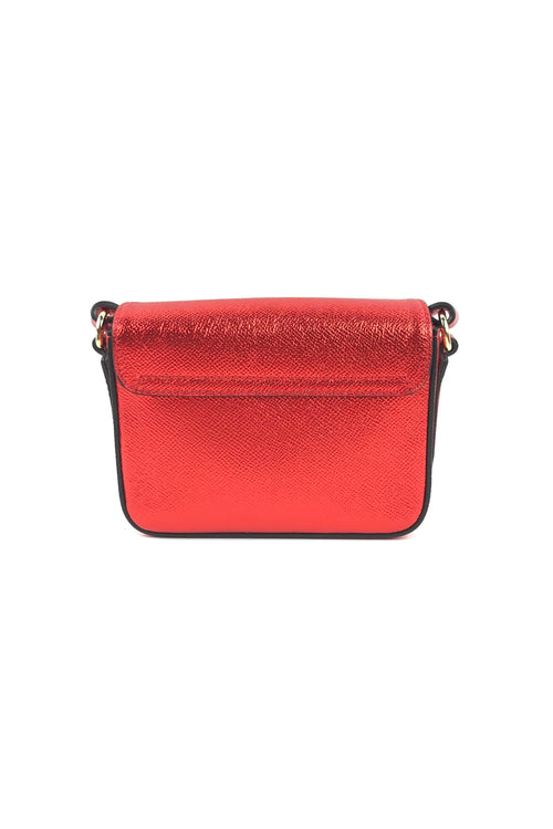 Metallic Red Grained Leather Mini Crossbody Bag W/ GHW