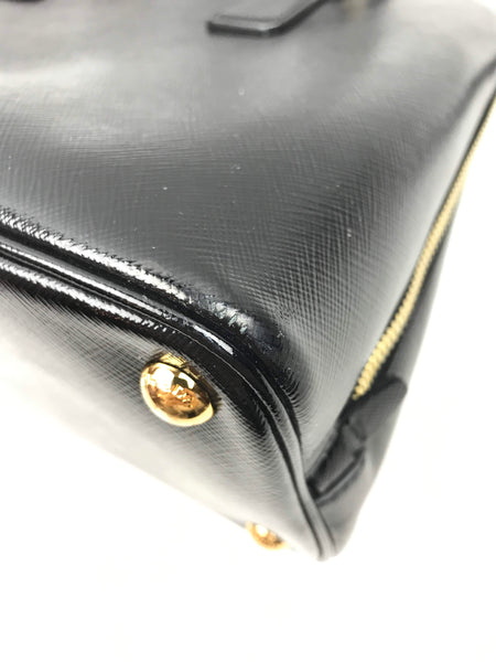 Black Patent Saffiano Leather Promenade Top Handle Bag W/ GHW