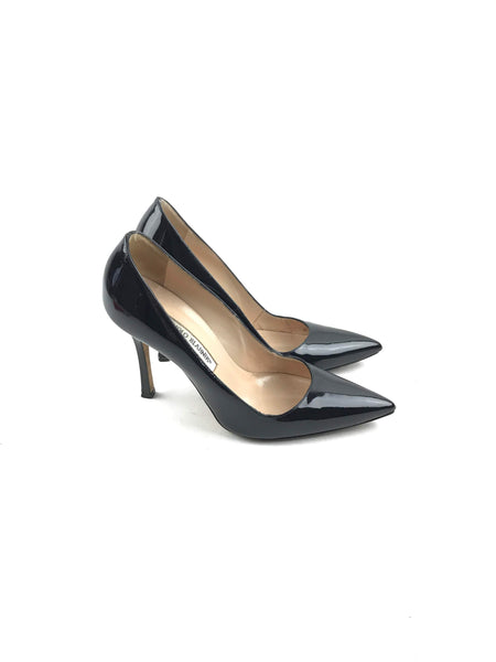 Black Patent Leather Stiletto Pumps