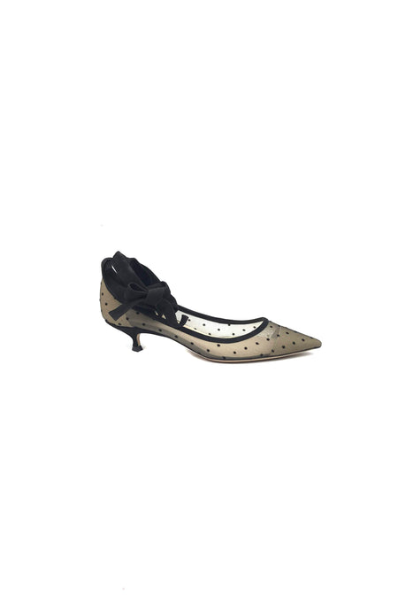 Black Satin/Lace Sandals W/ Embellished Crystals