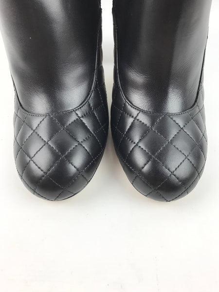 Black Quilted Lambskin Heeled Booties