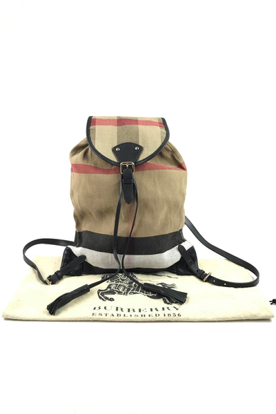 Chiltern Medium Canvas Backpack W/ Black Leather Trim W/ GHW
