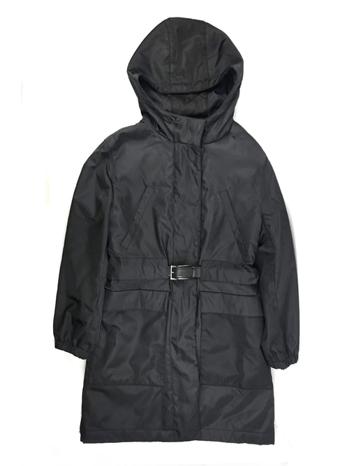 Nero Gabardine Nylon Belt Puffer Coat