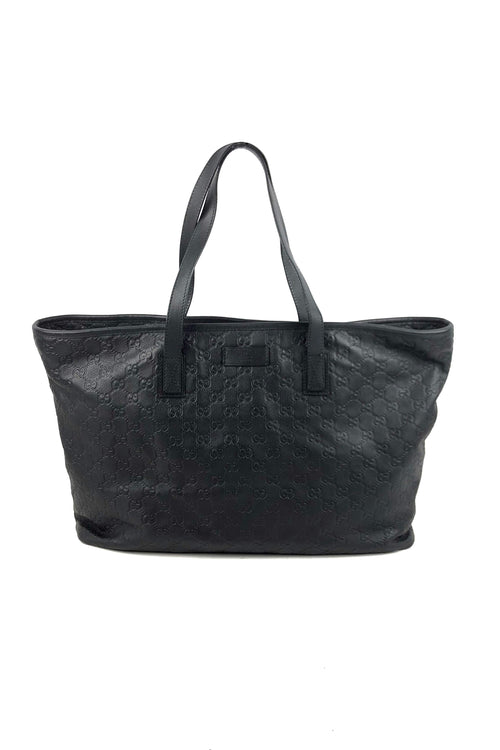 65d575d3800 Black Guccissima Embossed Leather Large Tote - Haute Classics