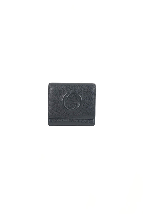 Black Leather Soho Disco Tri-Fold Wallet