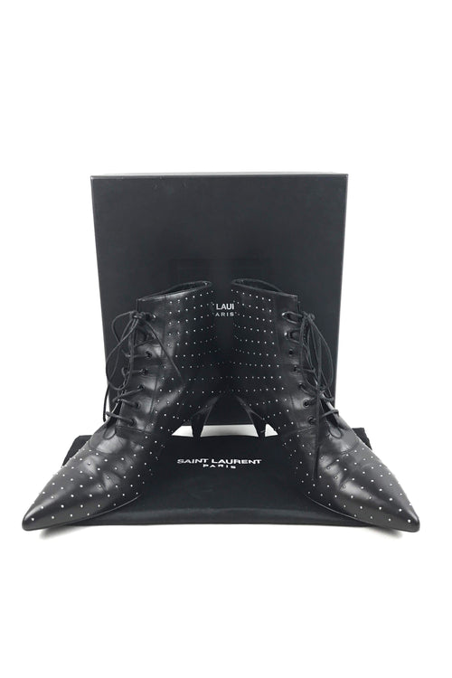 Paris Black Leather Studded Cat Boot 50 Booties