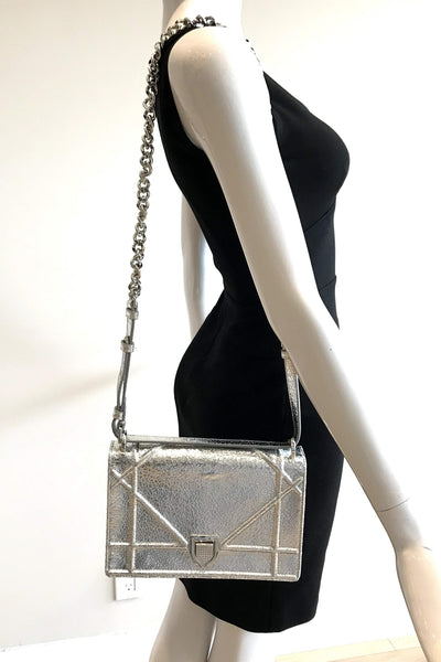 Metallic Silver Cracked Deerskin Medium Diorama Bag SHW w/ Crossbody Strap