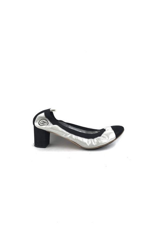 Metallic Silver/Black Stretch Spirit Pumps