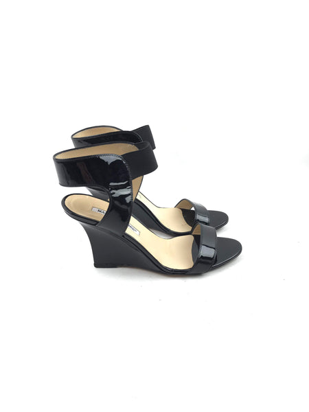 Black Patent Leather Wedge Sandals