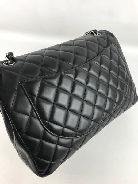 Black Lambkin Quilted Classic Single Flap Maxi Bag W/ SHW