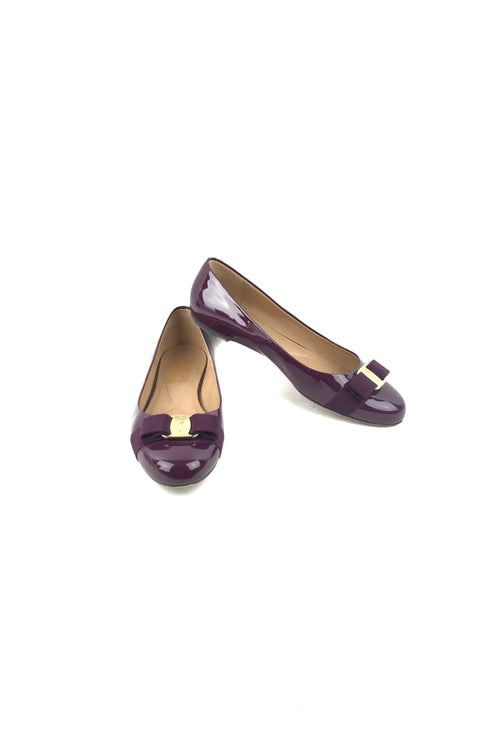 Purple Patent Leather Ballet Flats W/ Fabric Bow Accent