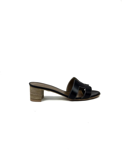 Black Oasis Low-heeled Calf Lather Sandals - Haute Classics