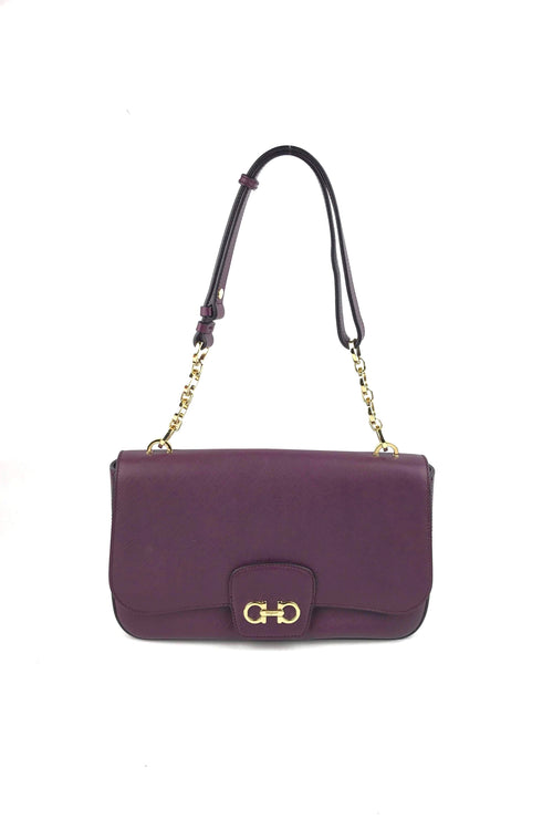 Grained Purple Leather Shoulder Bag W/ GHW