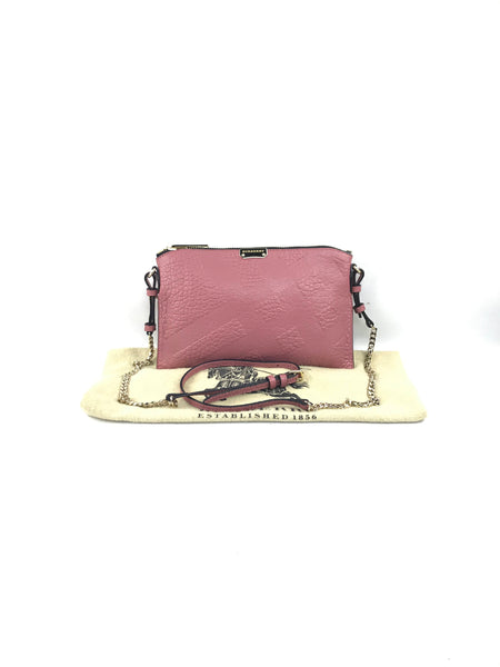 Rose Small Chichester Check Embossed Leather Crossbody Bag W/GHW