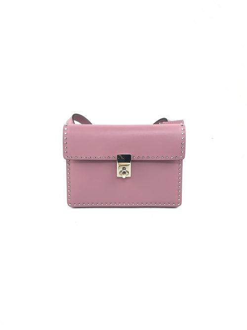 Rose Smooth Leather Mini Rockstud Flap Bag W/SHW