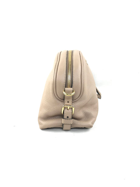 Taupe Grained Leather Half Moon Crossbody Bag W/GHW