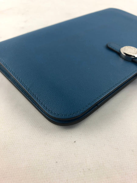 Light Blue Swift Leather Dogon Duo Combined Wallet W/PHW