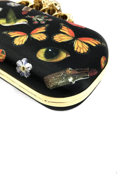 Butterfly Print Skull Knuckle Clutch
