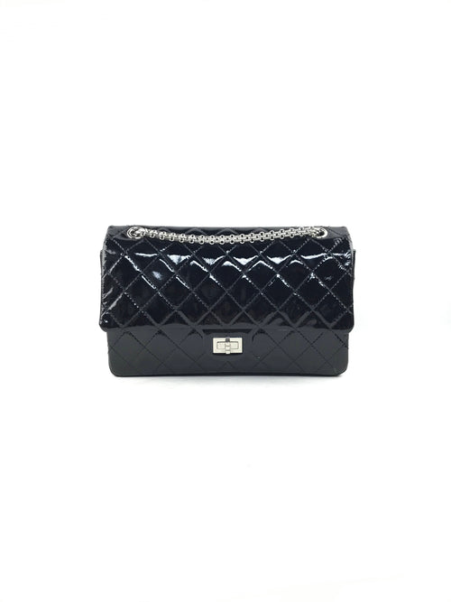 Black Quilted Patent Leather Double Flap Reissue 226 W/SHW