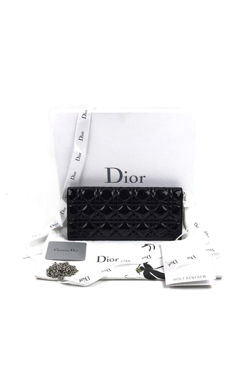 Black Patent Leather Cannage Quilted Lady Dior Convertible Clutch W/ SHW