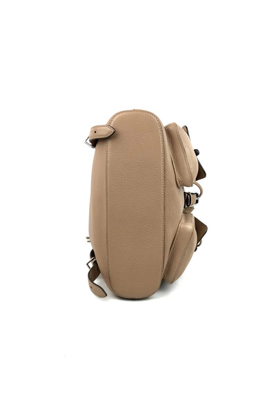 Tan Pebbled Leather Small Bamboo Backpack