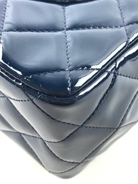 Navy Patent Quilted Leather Double Flap Jumbo W/SHW