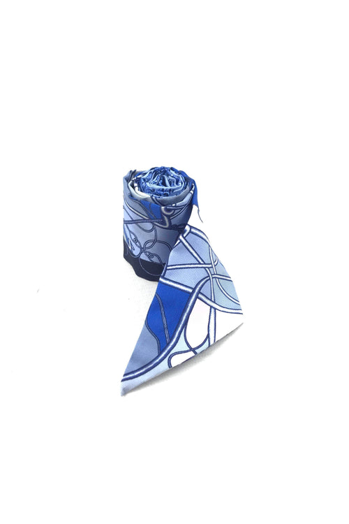 Blue/White/Pink Silk Twilly Scarf