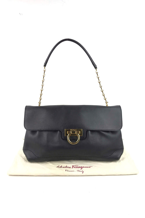 Black Grained Leather Shoulder Bag W/ GHW - Haute Classics
