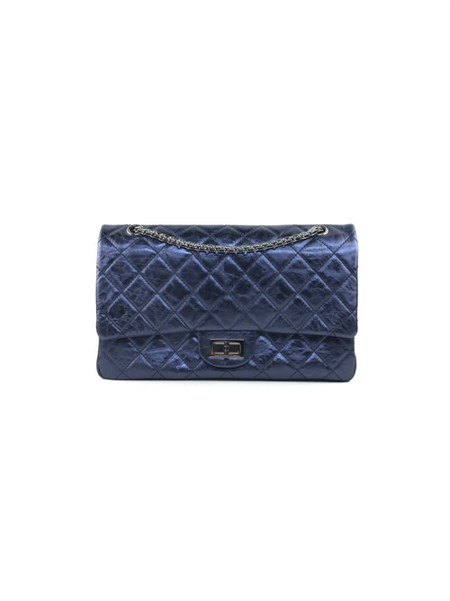 Navy Blue Metallic Crinkled Calfskin Leather Reissue 227 Double Flap W/SHW