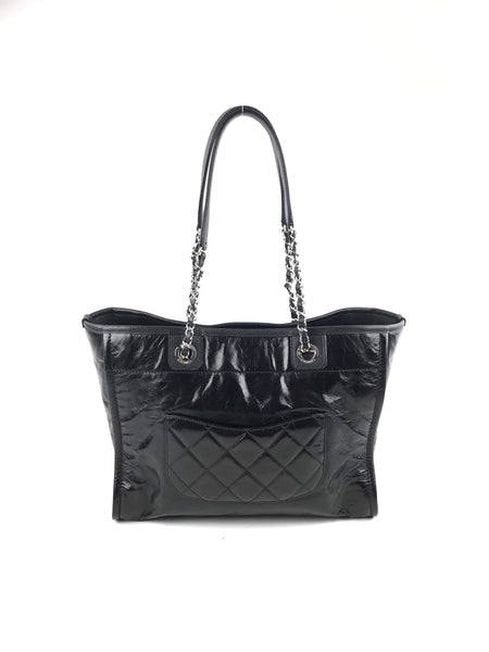 Black Patent Crinkled Calfskin Medium Deauville Tote