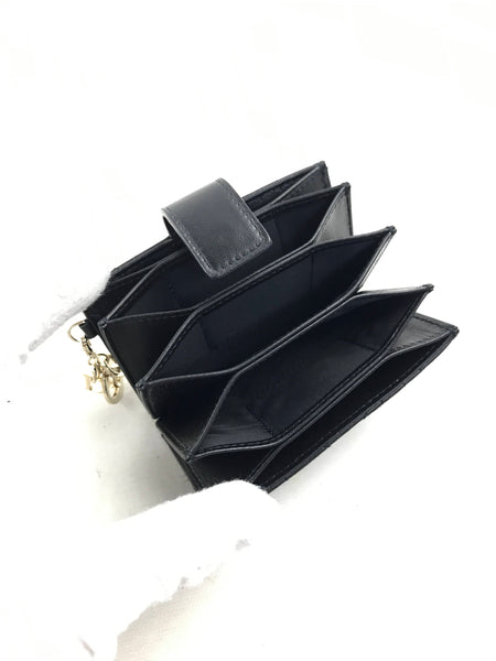 Black Lady Dior 5-Gusset Lambskin Accordion Card Holder W/LGHW