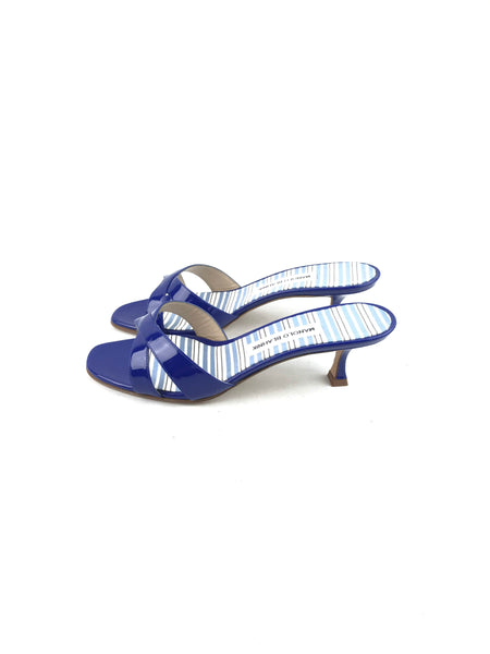 Patent Blue Leather Kitten Heel Sandals