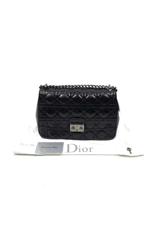 Black Patent Crinkled Calfskin Cannage Miss Dior Large Flap Bag - Haute Classics