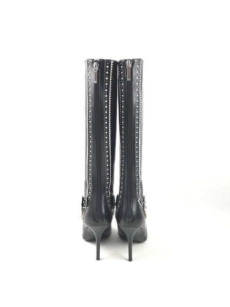 Black Polished Leather D-Trick Pearl Knee-High Boots